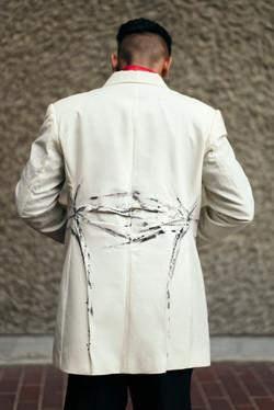 Cream tuxedo jacket
