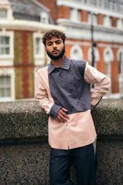 Blush and grey shirt