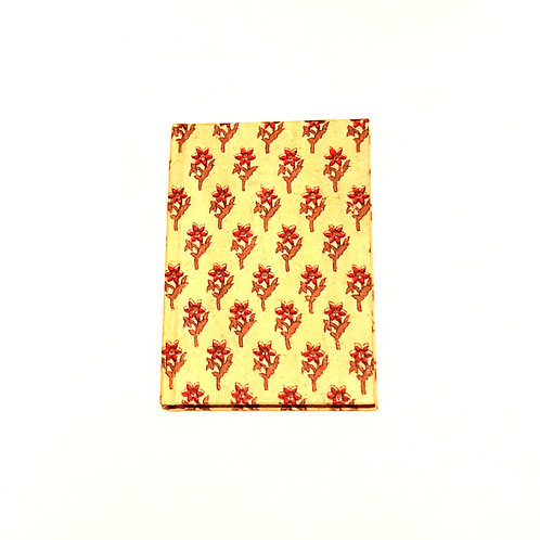 A5 Blank Notebook Covered Organic Cotton Red Hand Print Fabric - Zero Waste