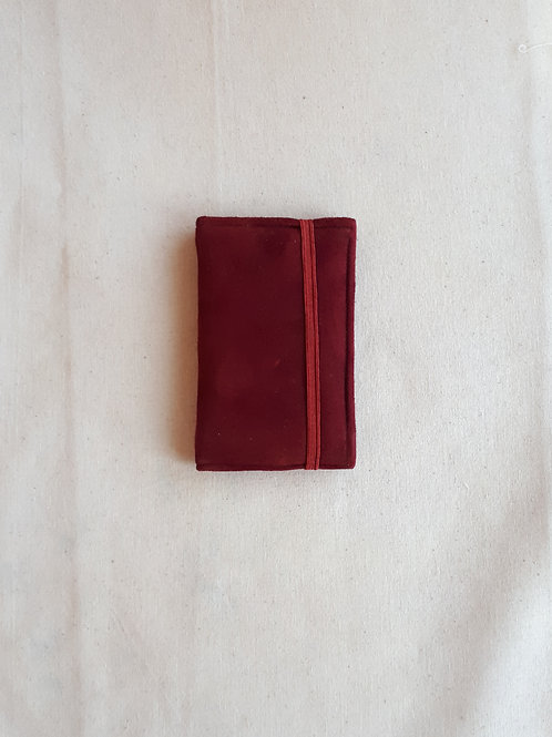 Red suede card wallet