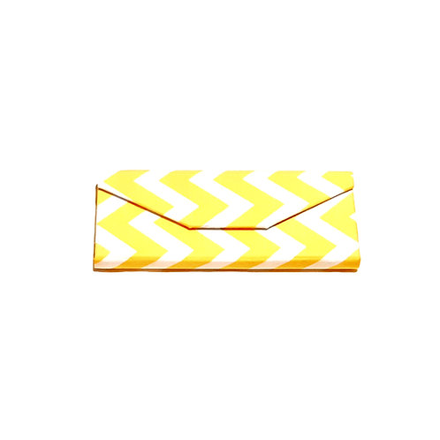 Golden yellow and White Zig Zag Print Cotton