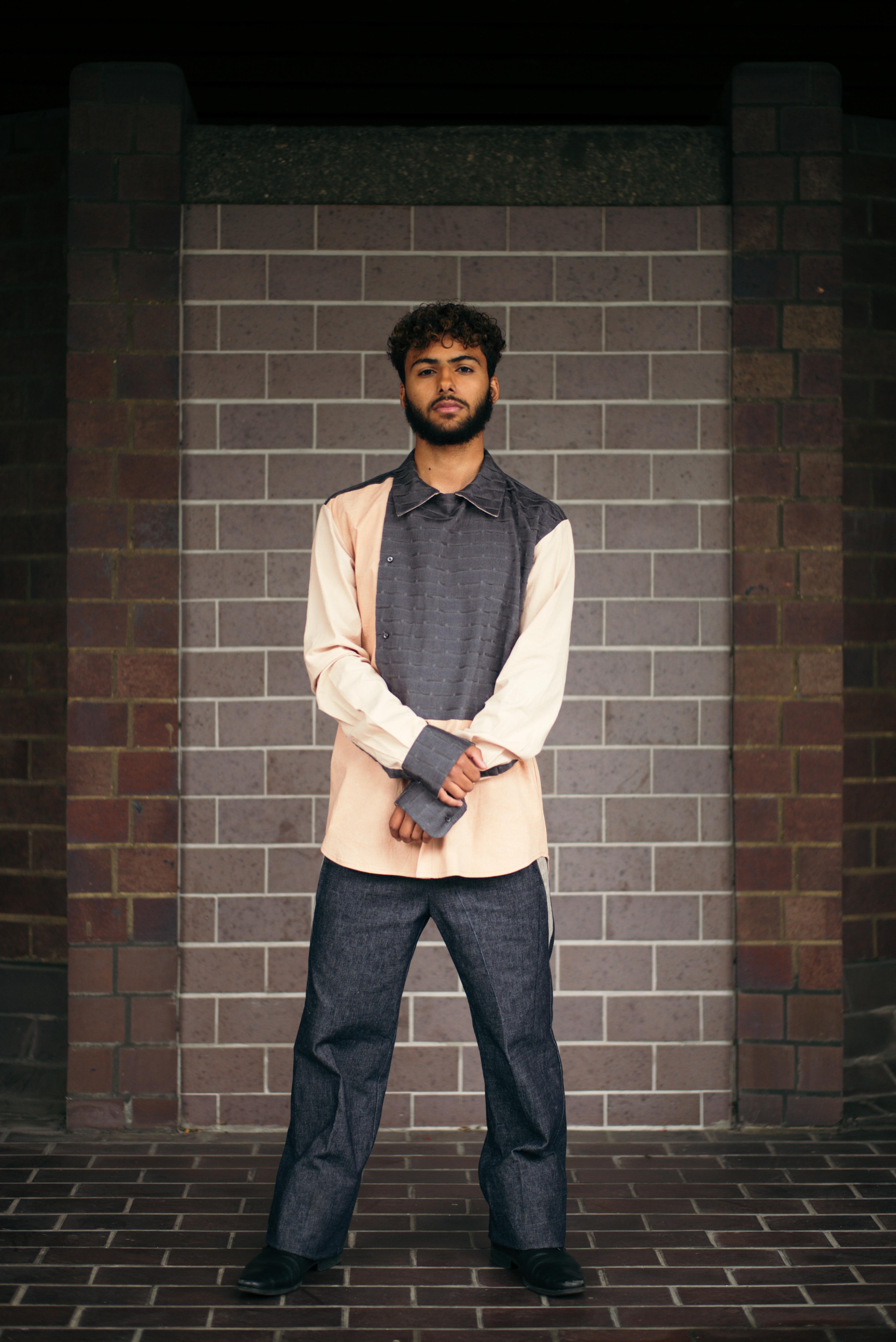 Blush & grey shirt, denim trousers