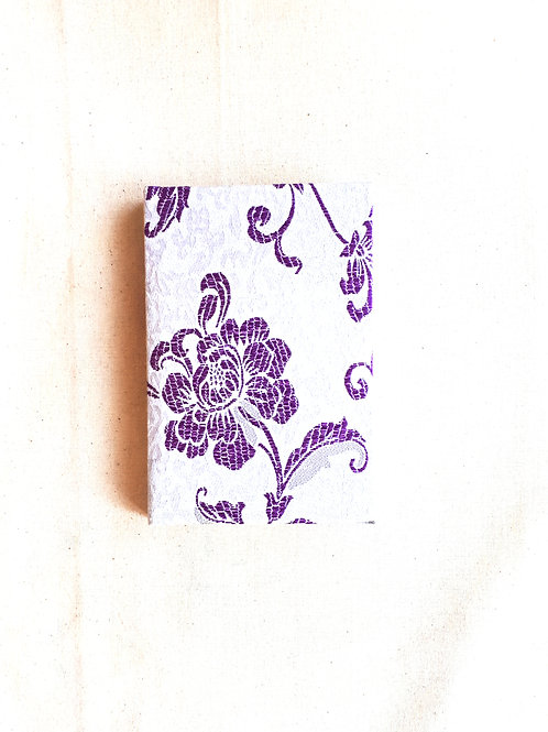 Purple and Silver Chinese Silk Notebook