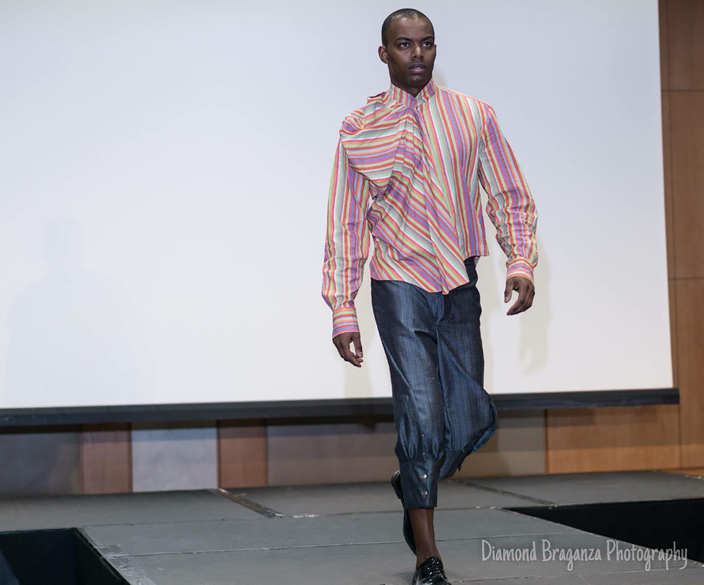 Stripe origami shirt & grey breeches