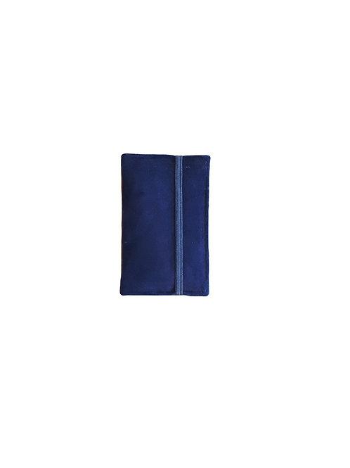 Blue suede card wallet