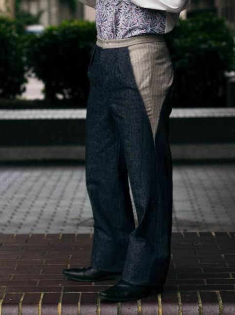 British wool and denim panel trousers