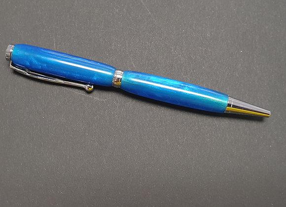 Hand Made Blue Resin Pen 075