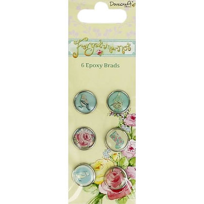 Dovecraft Forget Me Not - 6 Epoxy Brads 18mm - Flowers Embellishment