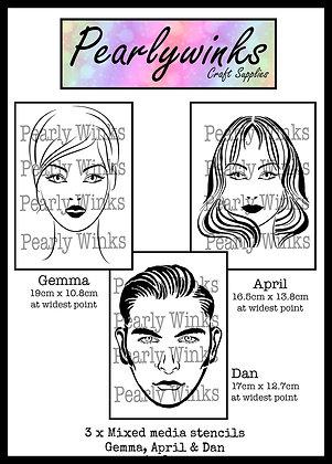 Gemma, April and Dan Stencils