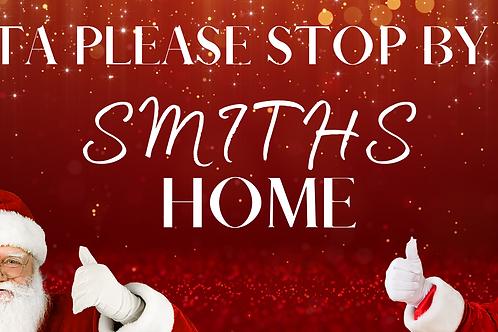 Santa please stop here sign 21cm x 7cm