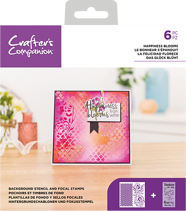 Crafter's Companion Background Stencil & Focal Stamps - Happiness Blooms