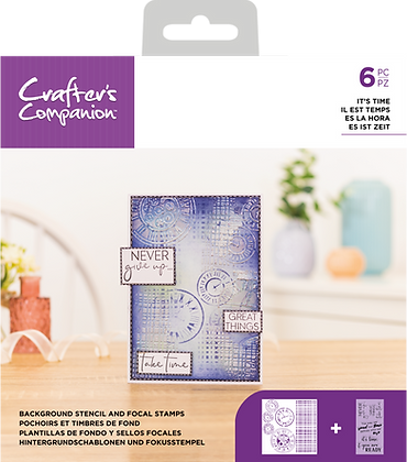 Crafter's Companion Background Stencil & Focal Stamps - It's Time