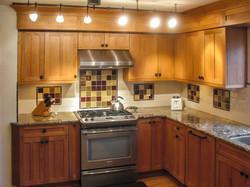 Craftsman Kitchen Lighting & Cabinets