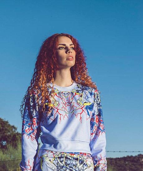 Sudadera corta -Blue Pods- crop sweatshirt