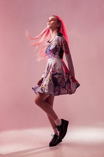 vestido skater -Lilac Tripods- skater dress