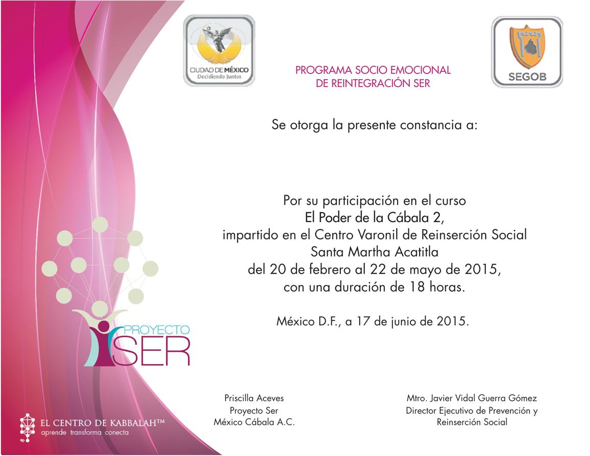 Constancia Proyecto SER Junio 2015