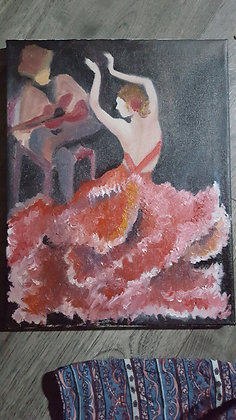Flamenco dancer in oil stretched canvas 11x14