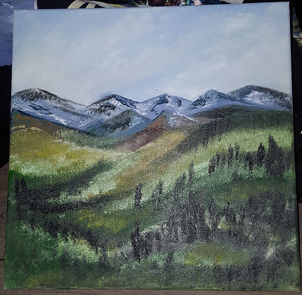 Arizona's northern hills on 12×12 stretched canvas in oil