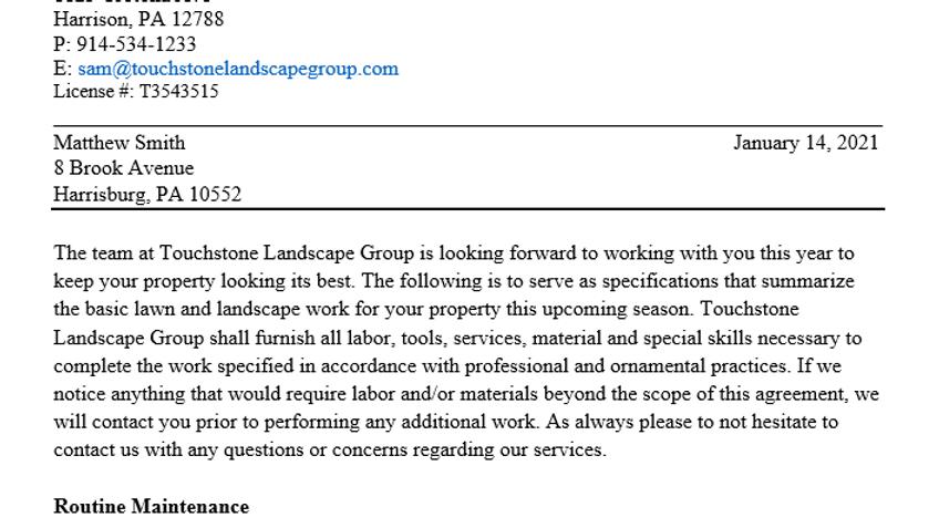Professional Lawn Maintenance Proposal