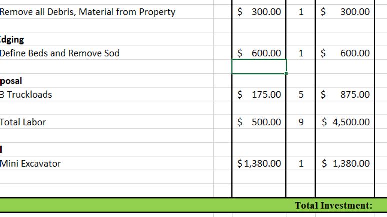 Sample Landscape Estimation Worksheet
