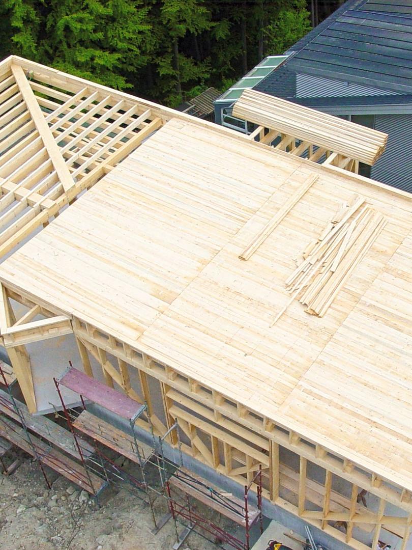 Holzriegelbau mit Flachdach