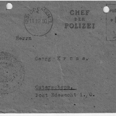 Post von der Bremer Polizei 11.12.1950