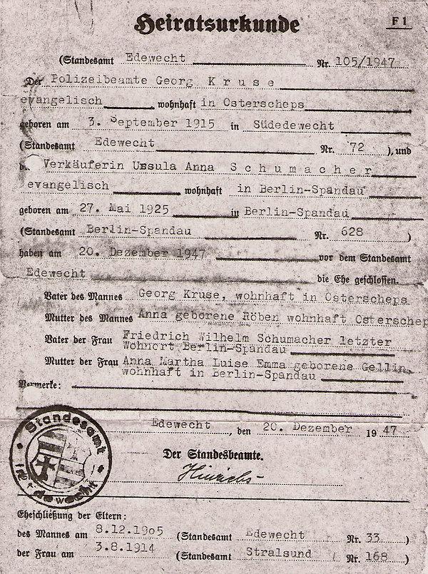 Heiratsurkunde 1947 von Georg Kruse und Ursula Schumacher Edewecht. Baiersdorf