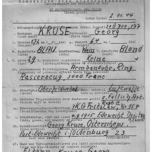 Fragebogen für Kriegsgefangene USA Camp Douglas Wyoming 02.11.1944 (1)