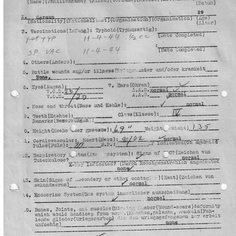 Aerztliche Untersuchung Kriegsgefangene