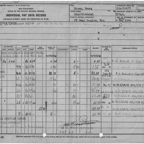 Zahlschein USA Camp Wyoming 1945-1946