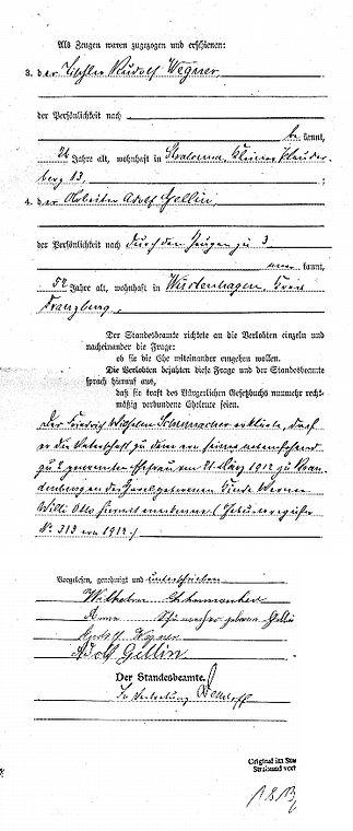 Heiratsurkunde 1914 von Wilhelm Schumacher und Anna Gellin, Stralsund (2). Kruse Baiersdorf
