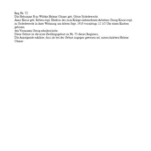 Geburtsregistereintrag 1915 von Vati, Übersetzung