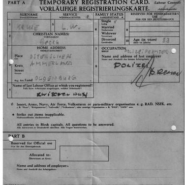 Vorlaeufige Registrierungskarte ca. 1947