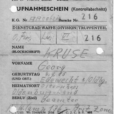 Aufnahmeschein Lager Britische Zone 16.07.1947