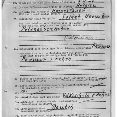 Fragebogen für Kriegsgefangene USA Camp Douglas Wyoming 02.11.1944 (2)