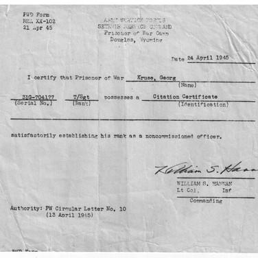Bestätigung des Unteroffiziersdienstgrad USA Camp Wyoming 24.04.1945