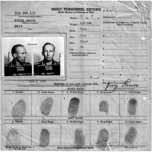 Basic Personnel Record P.O.W. Camp Douglas Wyoming USA 02.11.1944