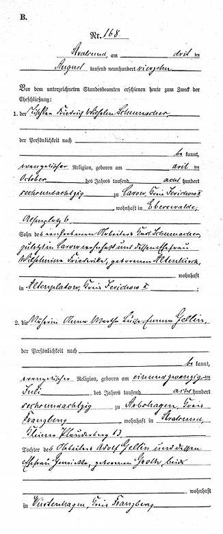 Heiratsurkunde 1914 von Wilhelm Schumacher und Anna Gellin, Stralsund (1)   Germany   Ahnenforschung Kruse Baiersdorf