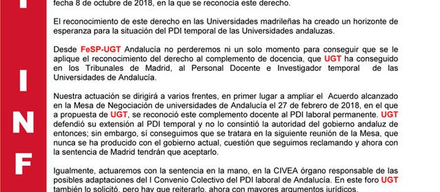 FESP-UGT ANDALUCÍA EXIGE A LAS UNIVERSIDADES ANDALUZAS EL  RECONOCIMIENTO DEL COMPLEMENTO DE DOCEN..