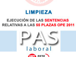 EJECUCIÓN DE LAS SENTENCIAS RELATIVAS A LAS 55 PLAZAS OPE 2011