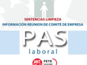 SENTENCIAS LIMPIEZA. INFORMACIÓN REUNION DE COMITÉ DE EMPRESA