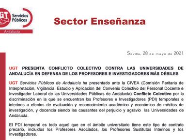 UGT PRESENTA CONFLICTO COLECTIVO CONTRA LAS UNIVERSIDADES DE ANDALUCÍA EN DEFENSA DE LOS PROFES...
