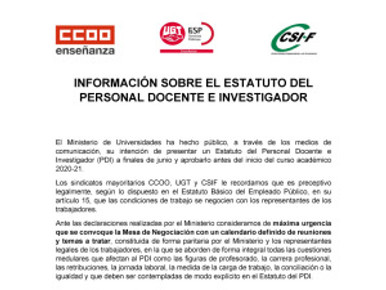 🔴UGT|UGR INFORMA:  INFORMACIÓN SOBRE EL ESTATUTO DEL PERSONAL DOCENTE E INVESTIGADOR