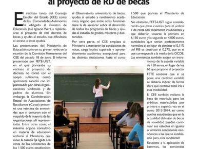 POSICIÓN DE FETE-UGT SOBRE EL PROYECTO DE RECORTES DE LAS BECAS DEL MINISTRO WERT