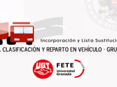Incorporación y Lista Sustituciones T.E. Clasificación y Reparto en Vehículo – Grupo III