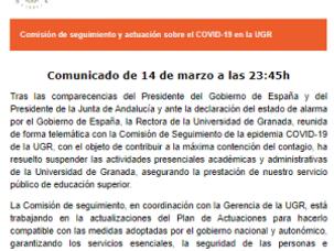 Comunicado Comisión de seguimiento y actuación sobre el COVID-19 en la UGR