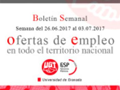 Boletín semanal de Ofertas de empleo público.  (Semana del 26.06.2017 al 03.07.2017)