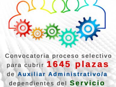 🔴 UGT INFORMA: Convocatoriaproceso selectivo para cubrir 1645 plazas de Auxiliar Administrativo/a