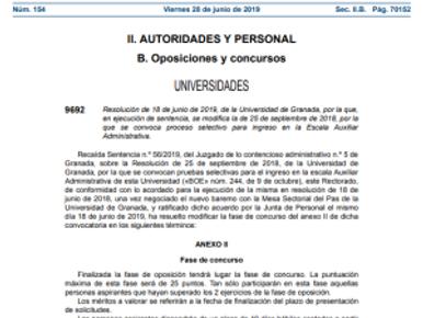 🔴ESCALA AUXILIAR ADMINISTRATIVA. Modificación fase de concurso del anexo II de dicha convocatoria.