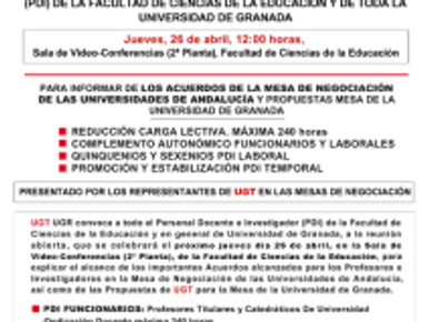 ENCUENTRO DE UGT UGR CON PAS Y PDI FACULTAD DE CIENCIAS DE LA EDUCACIÓN